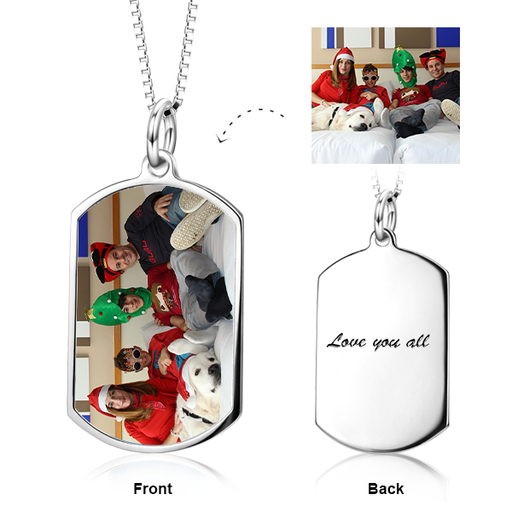 "Personalized Color Photo Necklace Adjustable 16""-20"" in Sterling Silver"