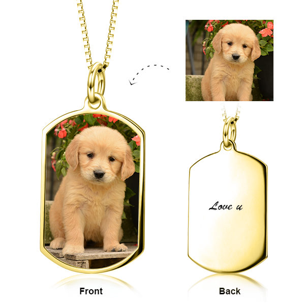"14K  Gold Pets Color Photo Personalized Necklace Adjustable 16""-20""- White Gold/Yellow Gold/Rose Gold"