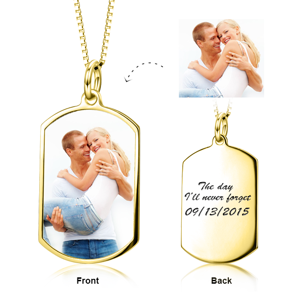 Hold You Tight - 10K/14K Gold Personalized Color Photo Customized Brand Pendant-White Gold/Yellow Gold/Rose Gold