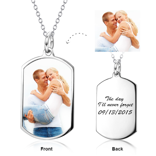 "Hold You Tight - 925 Sterling Silver Personalized  Color Photo Necklaces Adjustable 16""-20"""