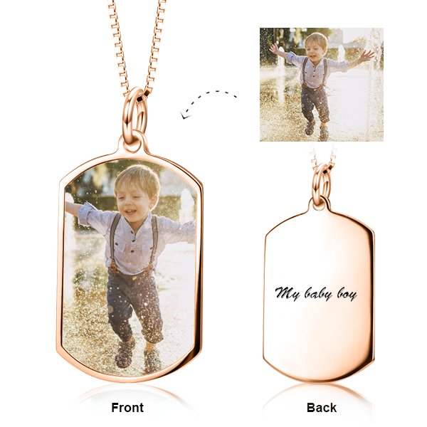 "14K Gold -Color Photo Personalized Adjustable 16""-20"""