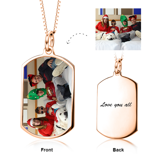 "Adjustable 16""-20"" Personalized Engraved Color Photo Necklace in 14K Gold"