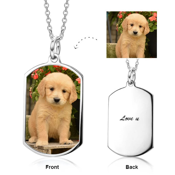 "Pets Color Photo 925 Sterling Silver Personalized Necklace Adjustable 16""-20"""