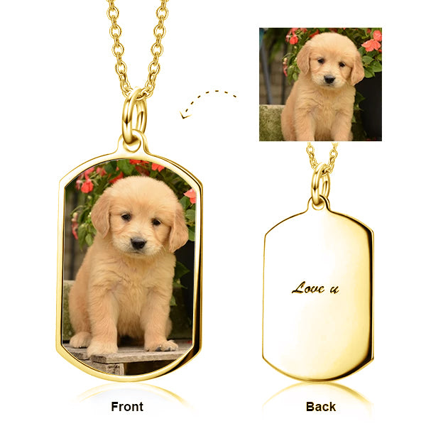 "Pets Color Photo Copper/925 Sterling Silver Personalized Necklace Adjustable 16""-20"""