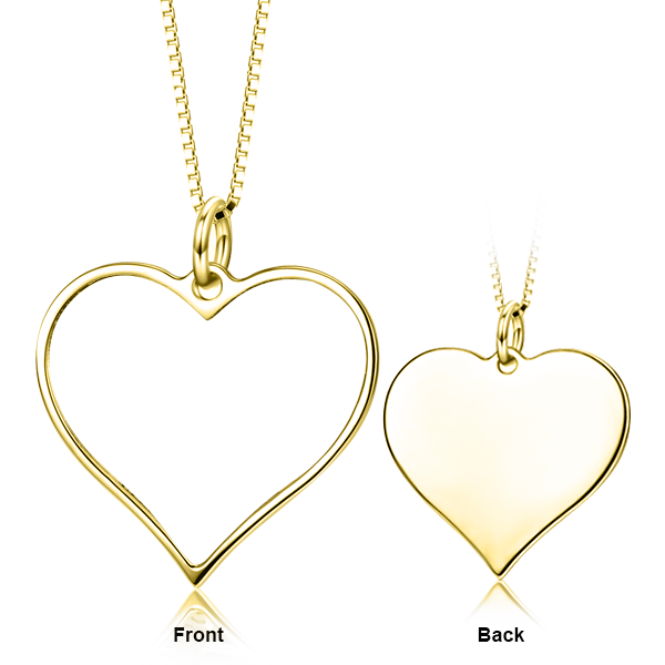 14K Gold Customize Your Color Photo and Engraved Text in Love Heart Pendant Necklace-Platinum/Yellow Gold/Rose Gold