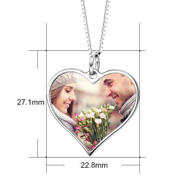 14K Gold Customize Your Color Photo and Engraved Text in Love Heart Pendant Necklace