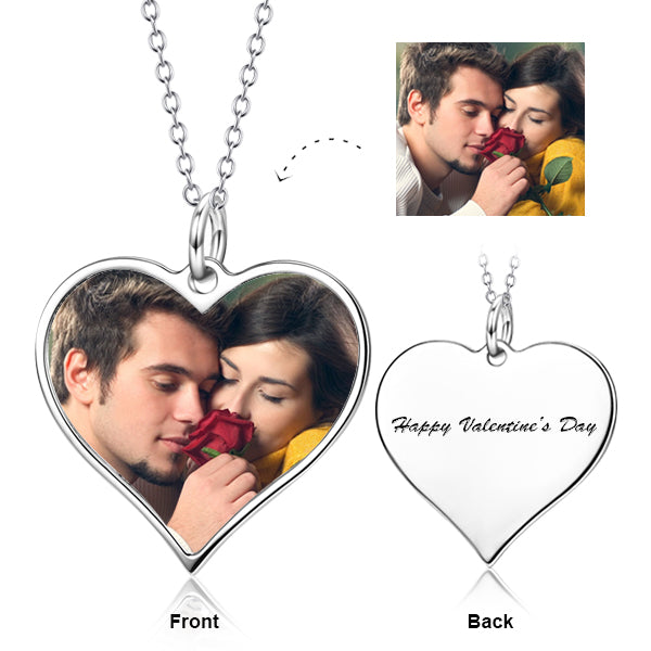 I Must Have You -10K/14K Gold Personalized Color Photo&Text Necklace Adjustable Chain-White Gold/Yellow Gold/Rose Gold