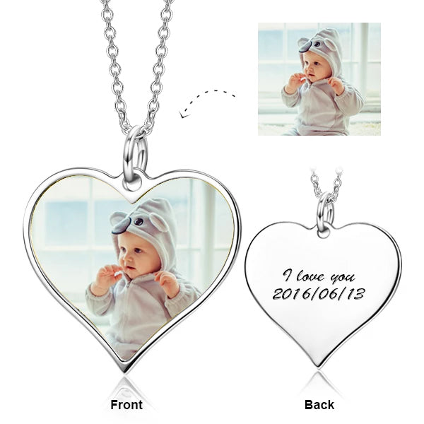 "Personalized Engraved Kids Color Photo&Text Adjustable 16""-20""- 925 Sterling Silver"