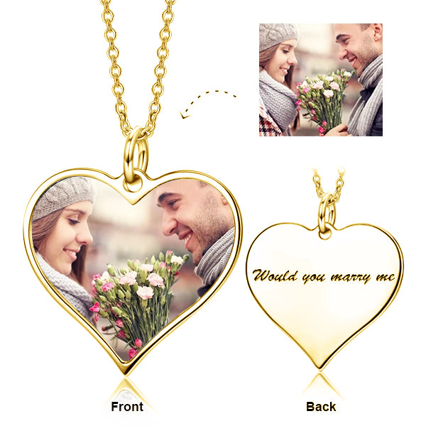 925 Sterling Silver Customize Your Color Photo and Engraved Text in Love Heart Pendant Necklace-Platinum/Yellow Gold/Rose Gold Plated