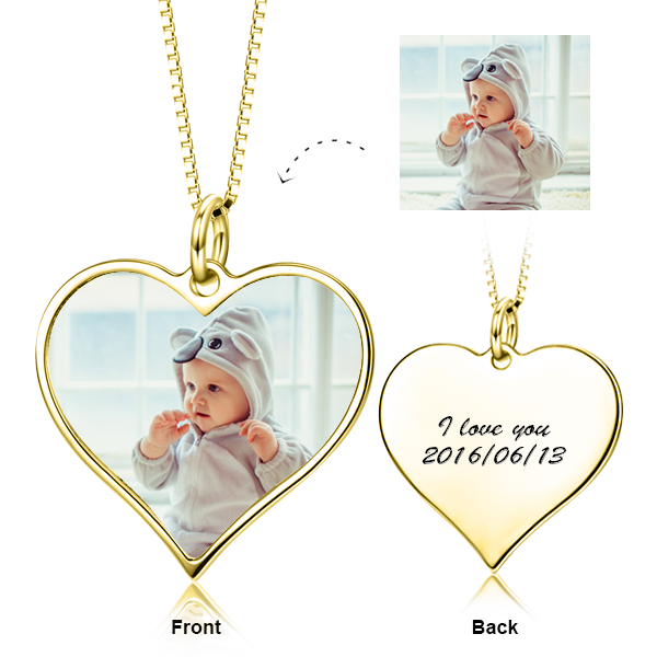 "Kids Personalized Engraved Color Photo&Text Adjustable 16""-20""- 14K Gold"