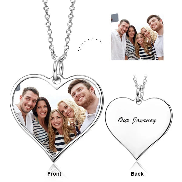"Copper/ 925 Sterling Silver Love Heart Personalized Color Photo Necklace Adjustable 16""-20"""