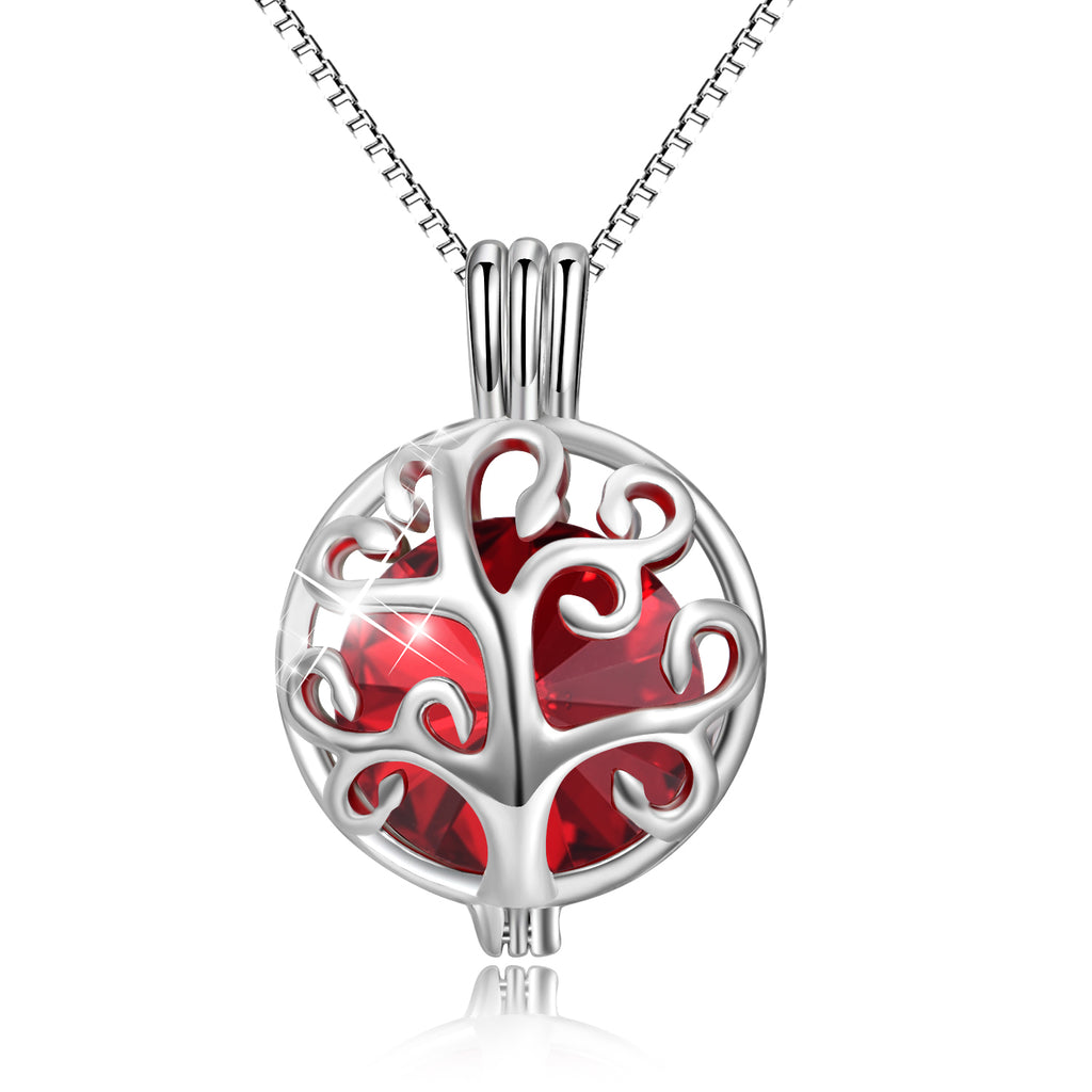 925 Sterling Silver Twelve Months Bithstones Life Tree Pendant Necklace