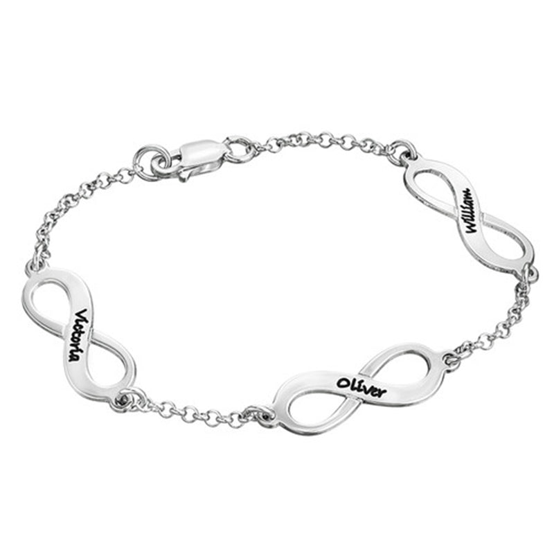 "Personalized 925 Sterling Silver Multiple Infinity Engraved Bracelets Adjustable 6""-7.5"""