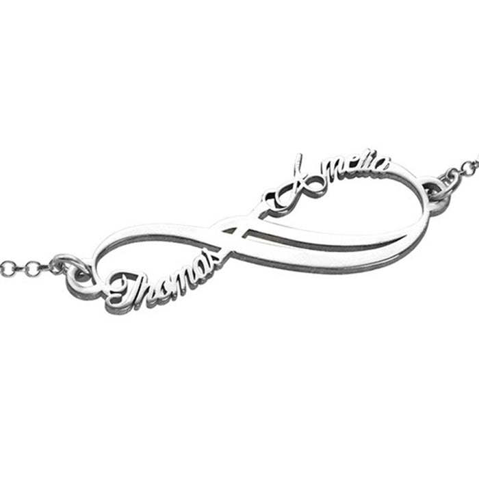 "925 Sterling Silver Personalized Infinity 2 Names Bracelet Adjustable 6""-7.5"""