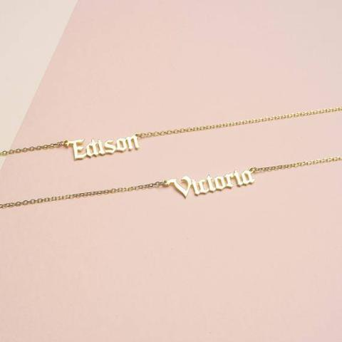 "Copper/925 Sterling Silver Personalized Minimal Name Jewelry Adjustable 16""-20""-Yellow Gold Plated"