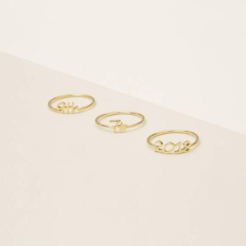 925 Sterling Silver Personalized Number Name Ring-Yellow Gold Plated