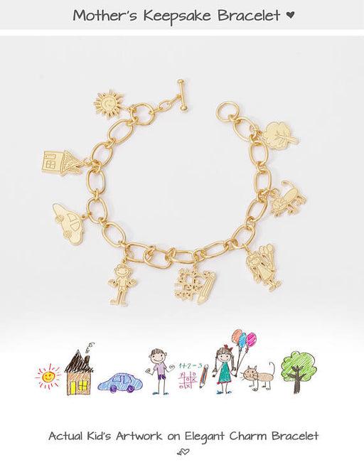 925 Sterling Silver Personalized Children Artwork Charm Bracelet