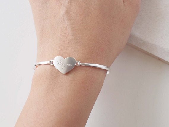 925 Sterling Silver Personalized Love Heart Signature Bangle