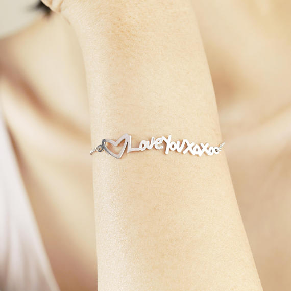 "925 Sterling Silver Personalized Heart Handwriting Name Bracelet Adjustable 6""-7.5"""