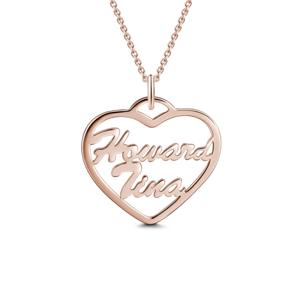 "Copper/925 Sterling Silver Personalized  Heart Name Necklace Adjustable 16""-20"""