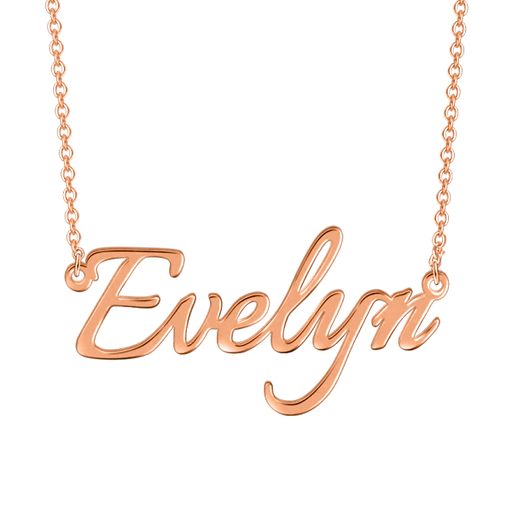 "Copper/925 Sterling Silver Personalized ""Evelyn""Style Adjustable 16""-20"" Name Necklace"