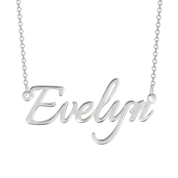 "Evelyn - 925 Sterling Silver Personalized Adjustable 16""-20"" Name Necklace"