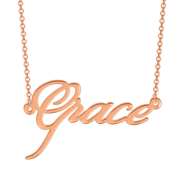 """Grace"" Style 925 Sterling Silver Personalized Name Necklace Adjustable 16""-20"""
