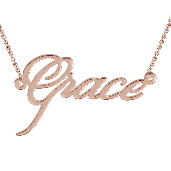 """Grace"" Style 14k Gold Personalized Name Necklace Adjustable 16""-20""-White Gold/Yellow Gold/Rose Gold"