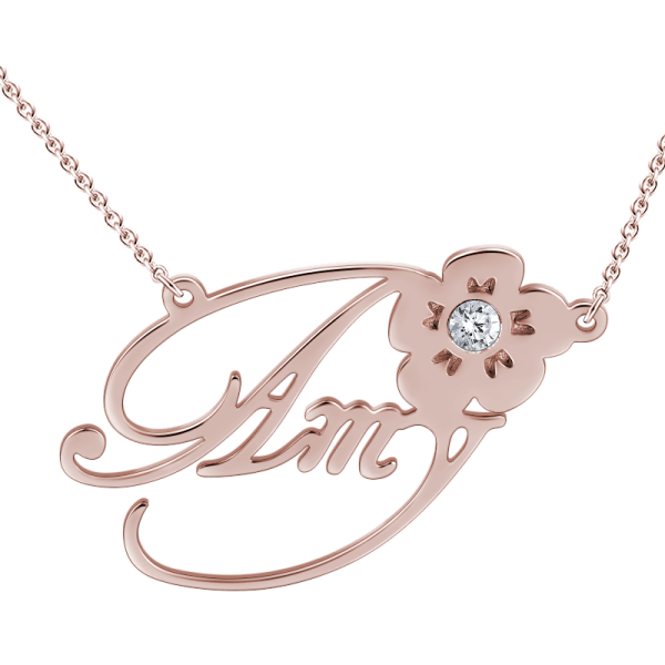 """Amy""Style 14k Gold Personalized  Swarovski Inlay Name Necklace Adjustable 16""-20""-White Gold /Yellow Gold/Rose Gold"