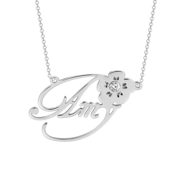 """Amy""Style Personalized 925 Sterling Silver White CZ Adjustable 16""-20"" Name Necklace"
