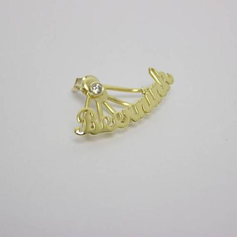 Personalized Sterling Silver Name Ear Climber -Yellow Gold Plated
