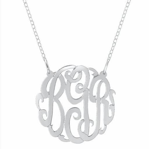 "925 Sterling Silver Personalized  Round Monogram Necklace Adjustable 16""-20"""