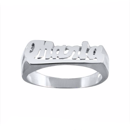 Sterling Silver Personalized Script Name Ring