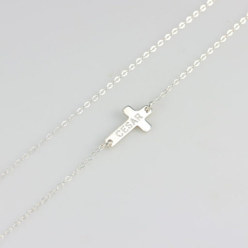 "925 Sterling Silver Personalized  Cross Necklace Adjustable 16""-20"""