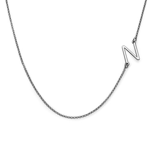 925 Sterling Silver Personalized Sideways Initial Necklace