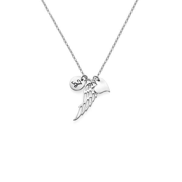 925 Sterling Silver Personalized Angel Wing Necklace
