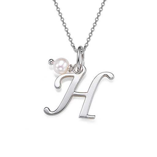 "925 Sterling Silver Personalized Pearl Initial Name Necklace Adjustable 16""-20"""