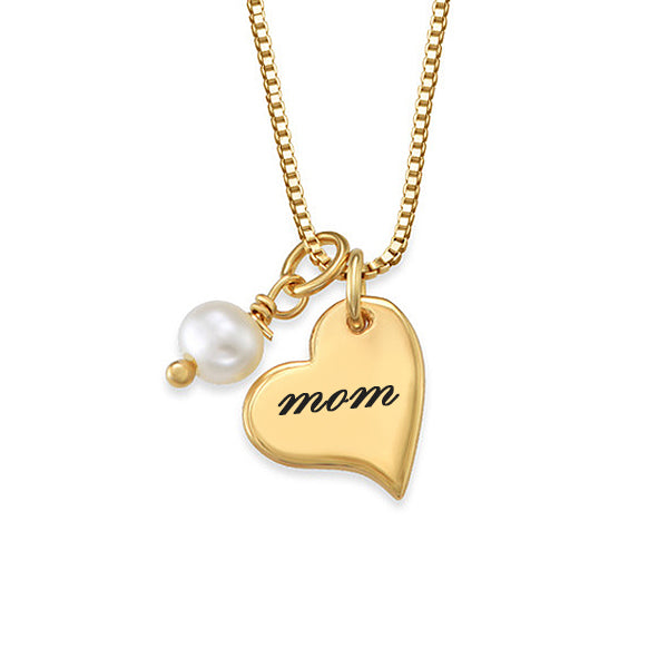 "925 Sterling Silver Personalized Heart Initial Necklace with Pearl Adjustable 16""-20"""