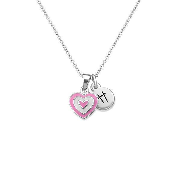 925 Sterling Silver Personalized Pink Heart Necklace with Initial Charm