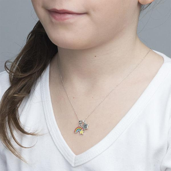 925 Sterling Silver Personalized Rainbow Necklace with Initial Charm