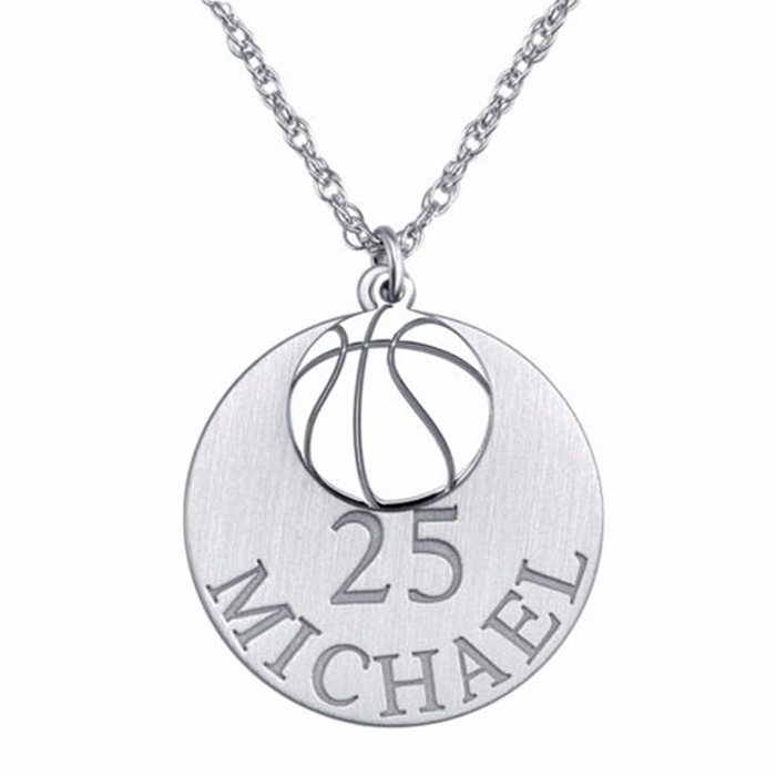 "925 Sterling Silver  Round Basketball Personalized Engraved Adjustable 16""-20"" Necklace in 925 Sterling Silver"