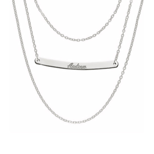 "925 Sterling Silver Three Layer Adjustable 16""-20"" Personalized Bar Necklace"