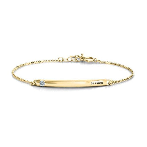 "14K Gold Personalized Birthstone Bar Engraved Bracelet Adjustable 6""-7.5"""