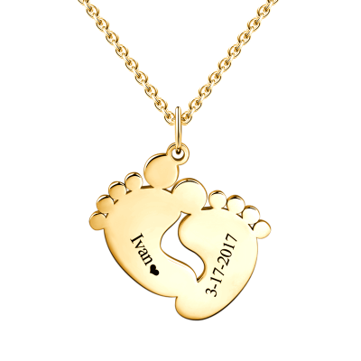 BABY FEET ENGRAVABLE NAME AND BIRTHDAY HANG TAG MEMORIES NECKLACE