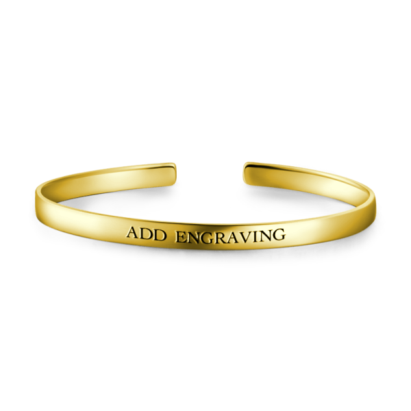 10K Gold Personalized Engravable Bangle-Medium