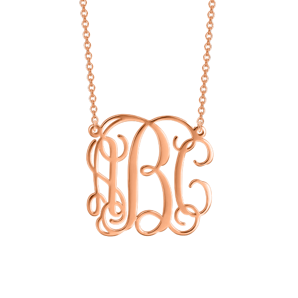 "Copper Personalized  Monogram Necklace Adjustable 16""-20"""