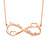 "925 Sterling Silver Personalized Engraved Infinity Necklace with Two Heart Adjustable 16""-20"""