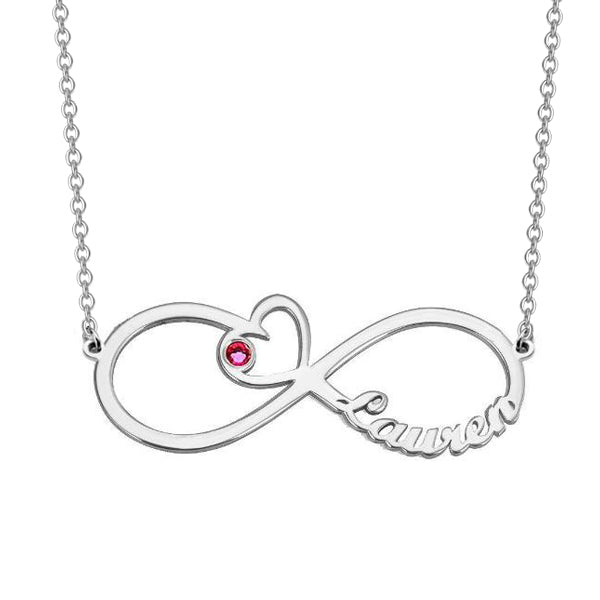 Copper/925 Sterling Silver Personalized Heart Birthstone Infinity Name Necklace