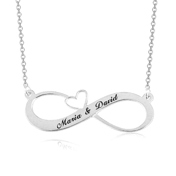 "925 Sterling Silver Personalized Engraved Infinity Necklace with Heart Adjustable 16""-20"""