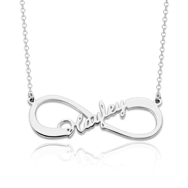 "925 Sterling Silver Personalized Infinity Name Pendant Necklace  Adjustable 16""-20"